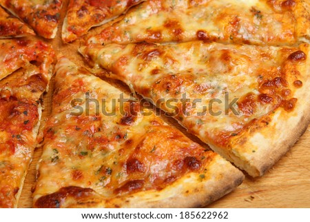 Traditional stone-baked pizza margarita - stock photo