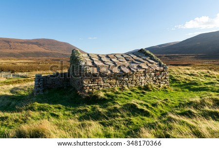 Traditional stone house, Rackwick bay, Orkney, Scotland - stock photo