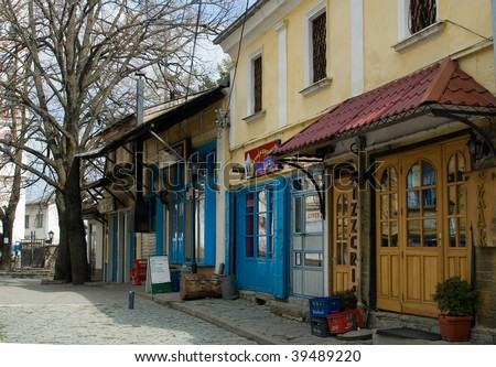 Traditional stores at Krushevo central square, FYROM