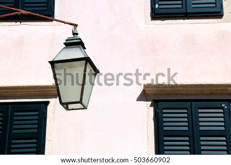 Traditional street lamp in Old Town Dubrovnik, Croatia. Dubrovnik is popular touristic destination and UNESCO World Heritage Site.