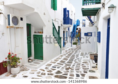 Traditional streets of Mykonos island in Greece - stock photo