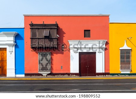 Traditional style architecture found in Trujillo, Peru  - stock photo