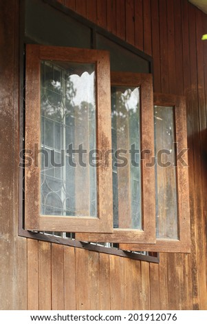 traditional style window decorated in wood house