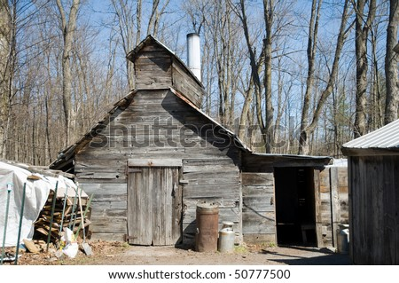 Traditional Sugar shack for maple syrup, Canada - stock photo