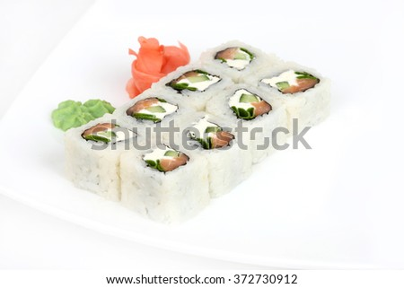 traditional sushi with fish and cream cheese