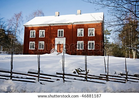 Traditional swedish house in Skansen, Stockholm - stock photo