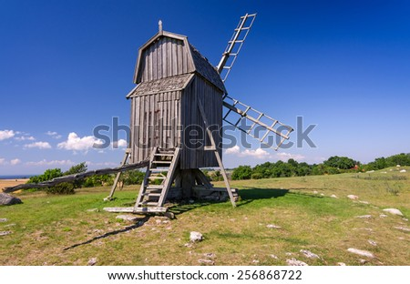 Traditional Swedish old windmill on Oland island - stock photo