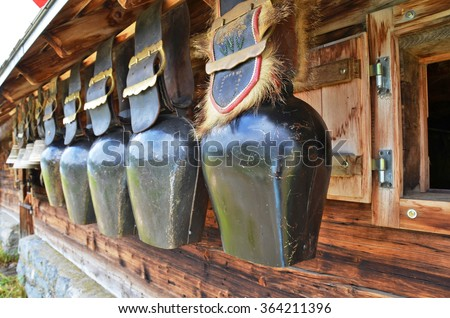 Traditional Swiss cowbells - stock photo