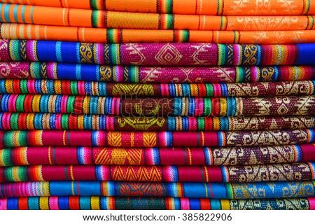 Traditional textiles in Otavalo, Ecuador. - stock photo