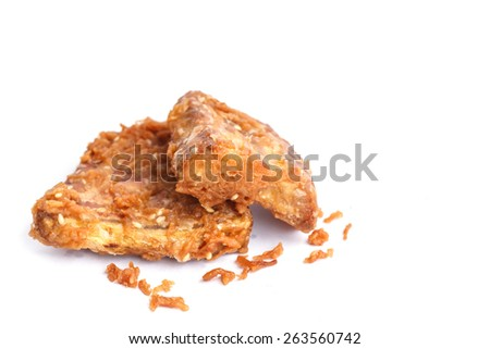 Traditional Thai dessert or snack, deep fired yam isolated on white background