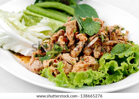 Traditional Thai Food called Pork Namtok - stock photo