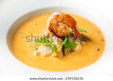 Traditional thai soup with shrimp - stock photo