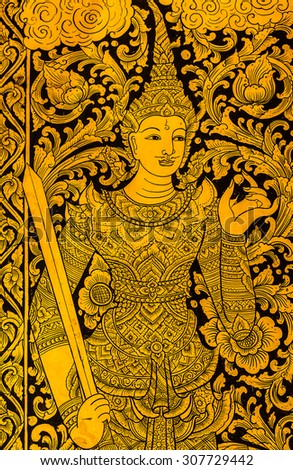 Traditional Thai style art painting on door of the temple