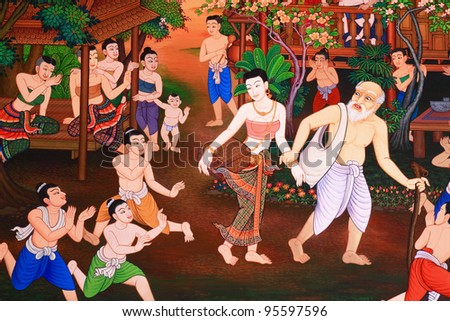Traditional Thai style art with the story about Buddha. - stock photo