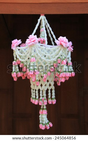 Traditional thai style flower arrangement - stock photo