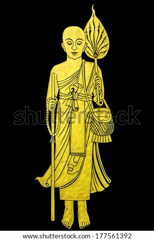 traditional Thai style gold painting art on temple's wall - stock photo