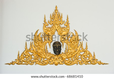 Traditional Thai Style Molding Art in Wat Rong Khun, Chiang Rai, Thailand