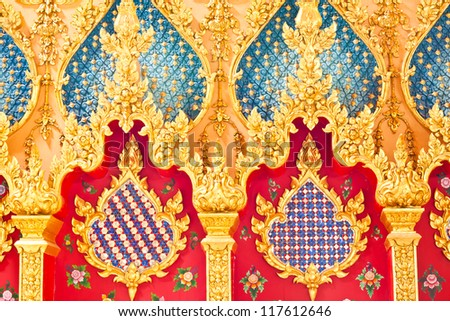 Traditional Thai style on door in temple Thailand - stock photo