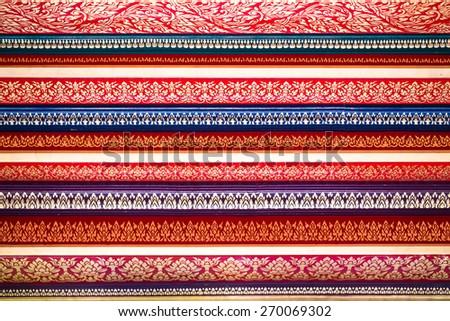 Traditional Thai style painting interiors art on temple wall at Wat Pak Nam, Bangkok,Thailand - stock photo