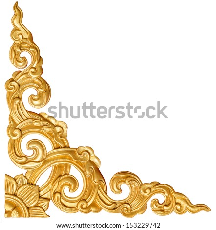Traditional Thai style pattern decorative isolated on white background, stucco gold paint in temple,Thailand. - stock photo