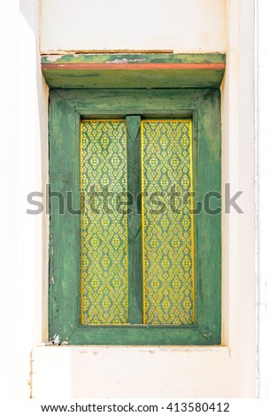 Traditional Thai style window temple - stock photo