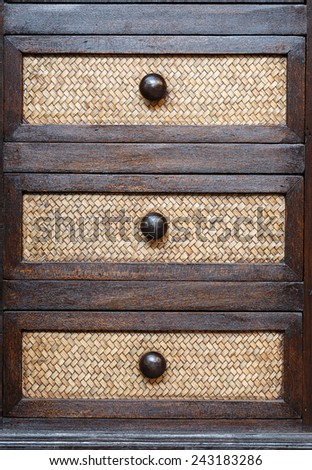 Traditional Thai style wooden drawer - stock photo
