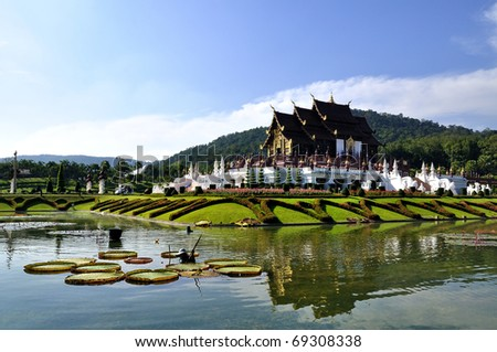 Traditional Thailand architecture in the Lanna style ; Royal Pavilion (Ho Kum Luang) Chiang Mai, Thailand - stock photo