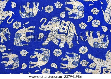 traditional Thailand batik sarong with pattern elephant - stock photo