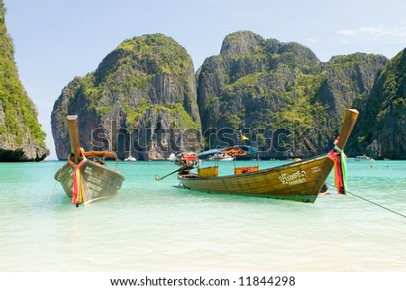 traditional Thailand boat at Phi Phi islands, Thailand - stock photo