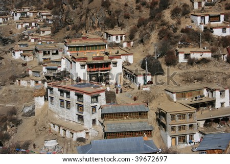 traditional tibetan village - stock photo
