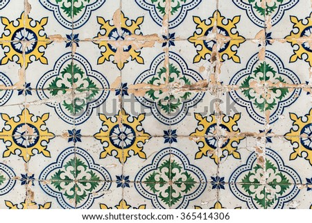Traditional tiles azulejos wall -  Lisbon Portugal - stock photo