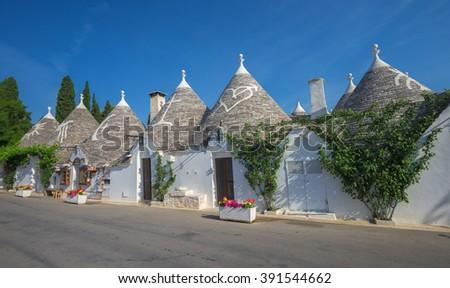 Traditional trulli houses, Alberobello, Puglia, Southern Italy - stock photo