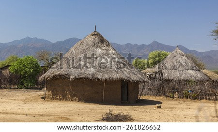 Traditional tsemay houses. Weita. Omo Valley. Ethiopia. - stock photo