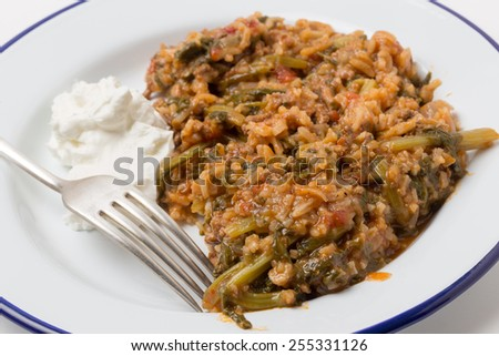 Traditional Turkish and East Mediterranean home-cooked minced beef and spinach, kymali ispanak, a popular comfort food. - stock photo