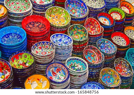 Traditional Turkish ceramics on the Grand Bazaar - stock photo