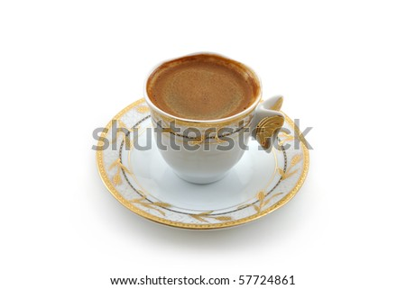 Traditional Turkish Coffee - isolated on white