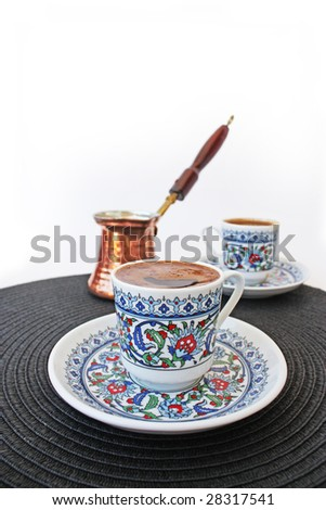 Traditional Turkish Coffee. Mocha with a Cezve. - stock photo