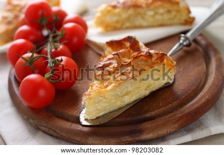 Traditional turkish feta cheese pie with yufka pastry