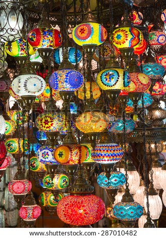 Traditional turkish lamps on the market - stock photo