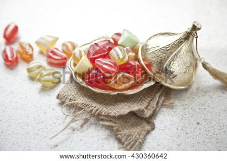 Traditional Turkish Ramadan Sweet Sugar Candy - Akide Sekeri - stock photo