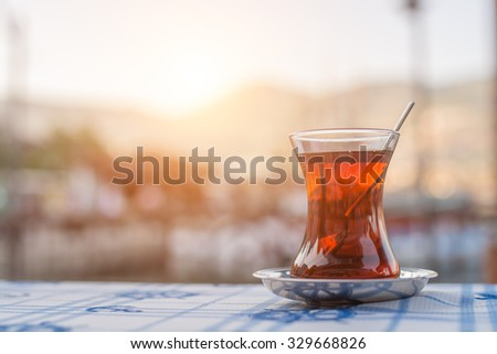 traditional Turkish tea - stock photo