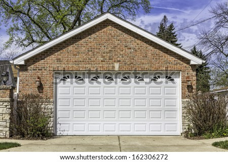 Traditional two car garage - stock photo