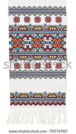Traditional Ukrainian embroidered towel in bright colors isolated on white background - stock photo