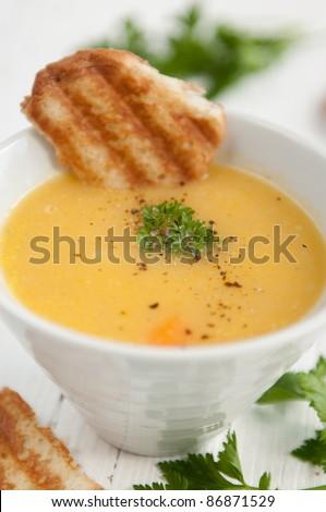 Traditional vegetarian cream potato soup - stock photo
