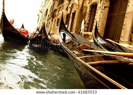 Traditional Venice gandola ride - stock photo