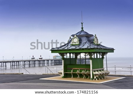 Traditional Victorian shelter on Blackpool promenade, UK.  - stock photo