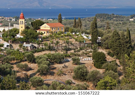 Traditional village and scenery at Corfu island in Greece