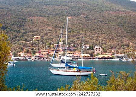 Traditional village Basiliki on Lefkas island, Greece - stock photo