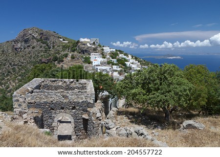 Traditional village of Emborios at Nisyros island in Greece - stock photo