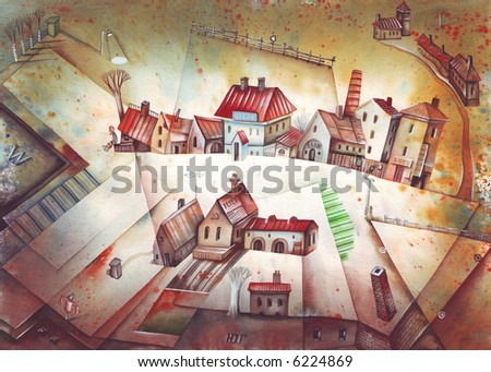 Traditional village or little town. Illustration by Eugene Ivanov. - stock photo